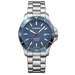 Wenger Seaforce Quartz Blue Dial Steel Bracelet Strap Men's Watch 01.0641.120