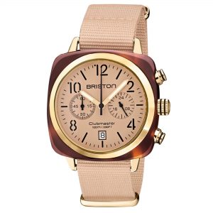 Briston Clubmaster Classic Quartz Movement Nude Dial Textile Strap Mens Watch 20140.PYA.T.36.NTN