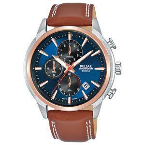 Pulsar Quartz Movement Blue Dial Leather Strap Men's Watch PM3120X1