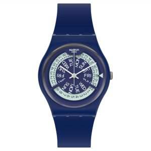 Swatch N-IGMA Quartz Movement Blue Dial Silicone Bracelet Mens Watch GN727