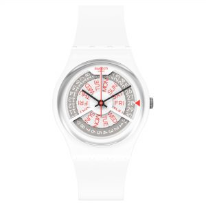 Swatch N-IGMA Quartz Movement White Dial Silicone Bracelet Mens Watch GW717