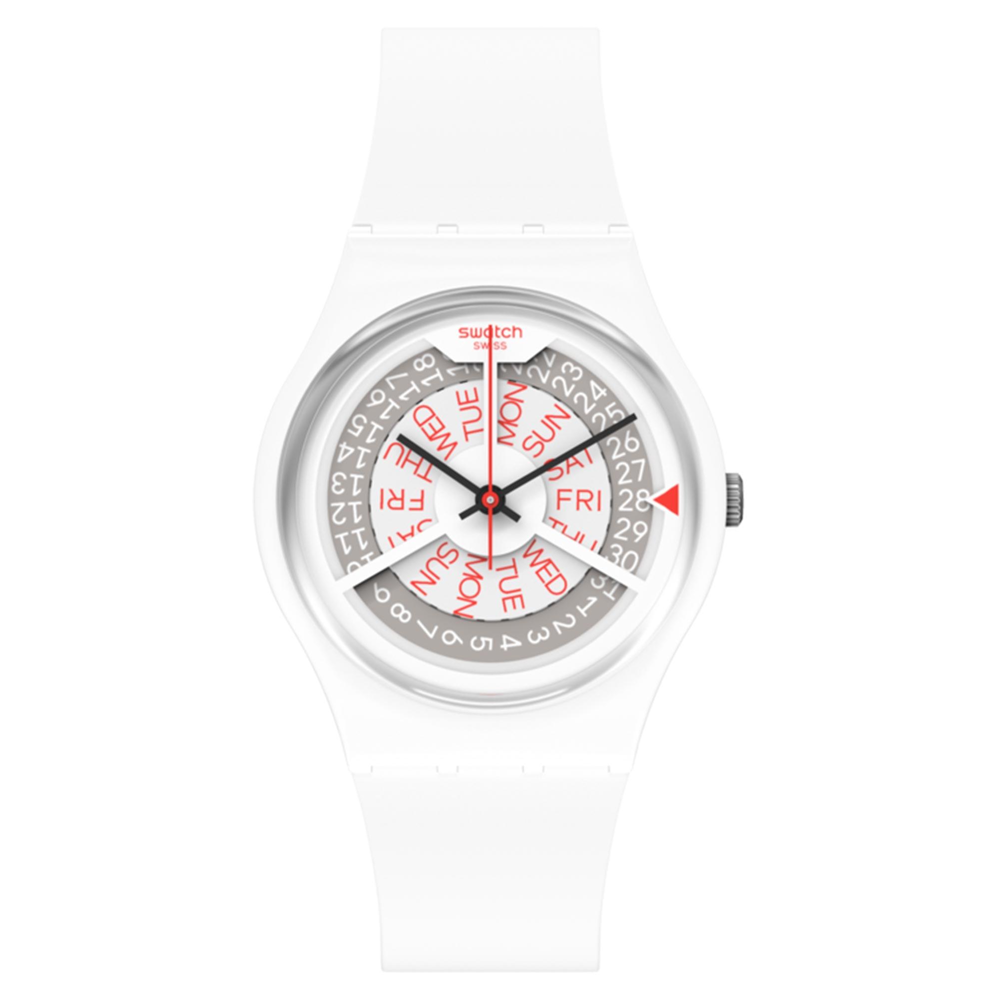 Swatch N-IGMA Quartz Movement White Dial Silicone Bracelet Mens Watch GW717