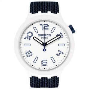 Swatch Deep Snow Quartz Movement White Dial Silicone Bracelet Mens Watch SO27W102