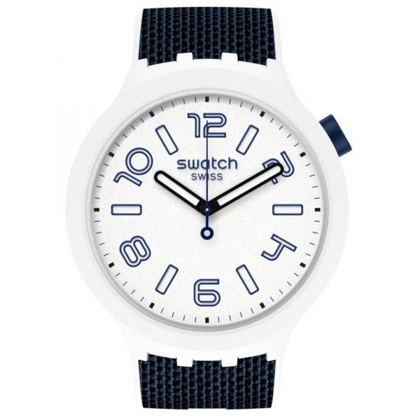 Swatch Deep Snow Quartz Movement White Dial Silicone Bracelet Mens Watch SO27W102