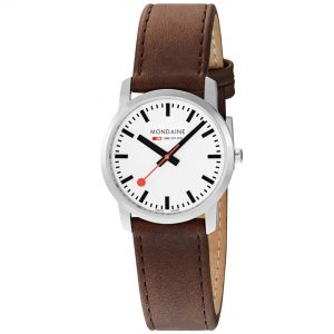 Mondaine Simply Elegant Quartz White Dial Leather Bracelet Womens' Watch A400.30351.11SBG