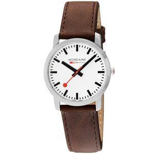 Mondaine Simply Elegant Quartz White Dial Leather Bracelet Womens' Watch A638.30350.11SBG
