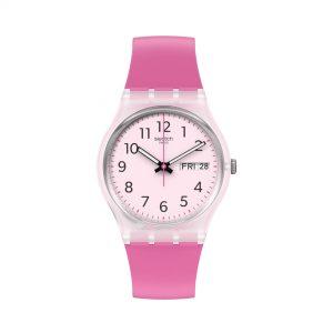 Swatch Original Gent Quartz Pink Dial Pink Bio-sourced Material Strap Ladies Watch GE724
