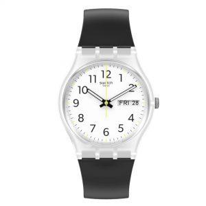 Swatch Original Gent Quartz White Dial Black Plastic Strap GE726