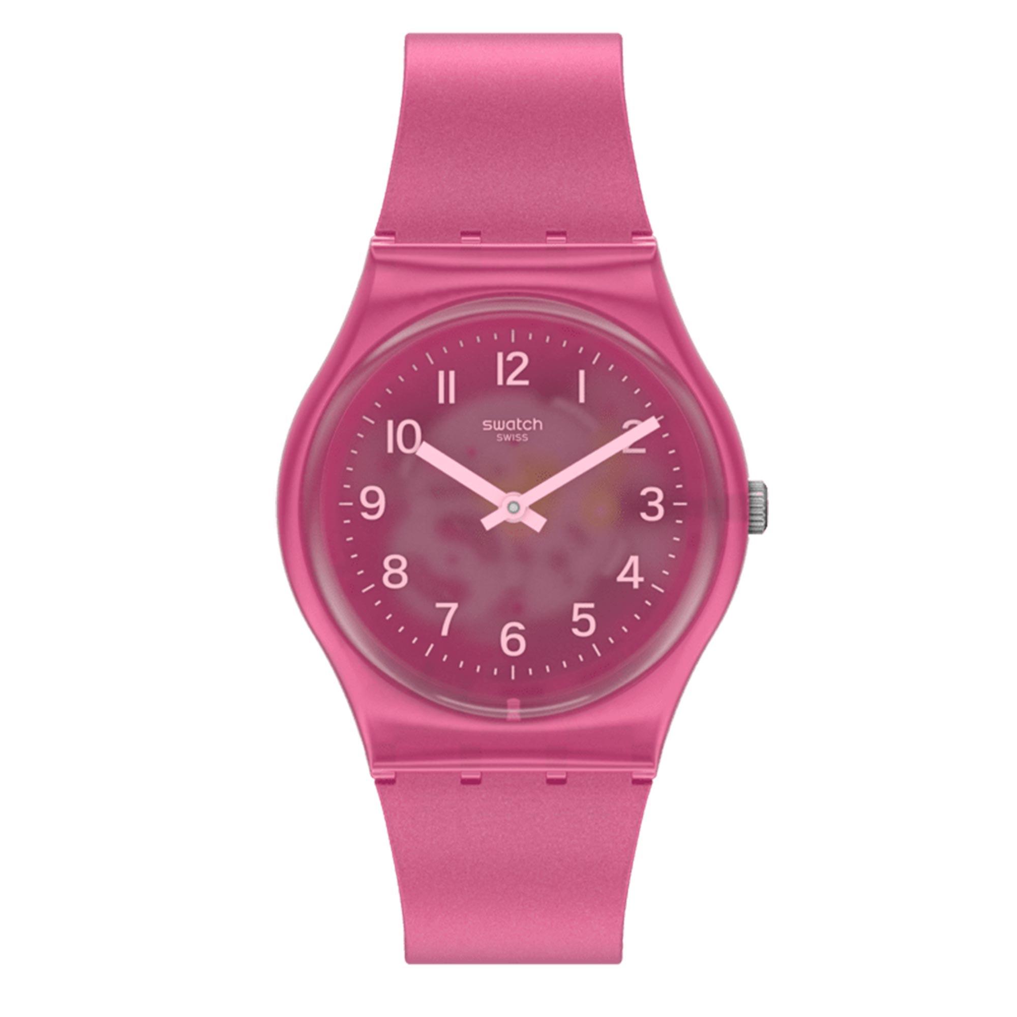 Swtach Original Gent Quartz Pink Dial Pink Silicone Strap GP170