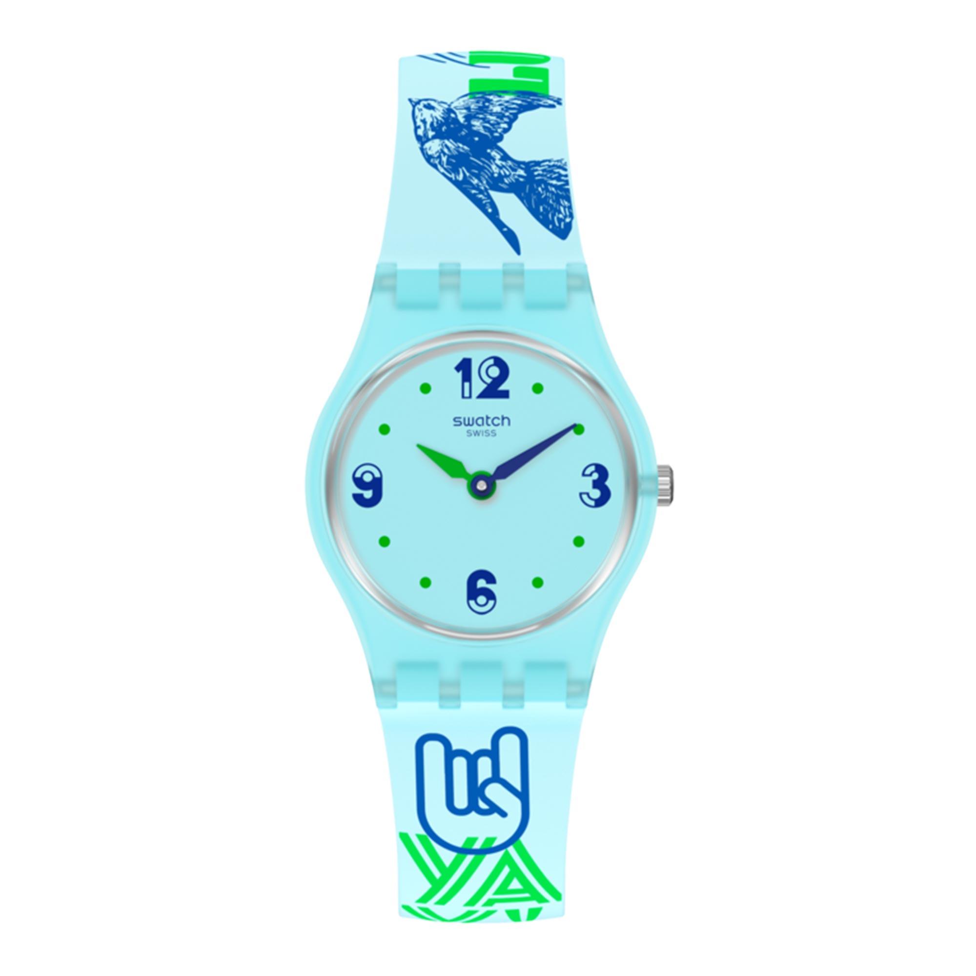 Swatch Original Gent Quartz Blue Dial Blue Silicone Strap LN157