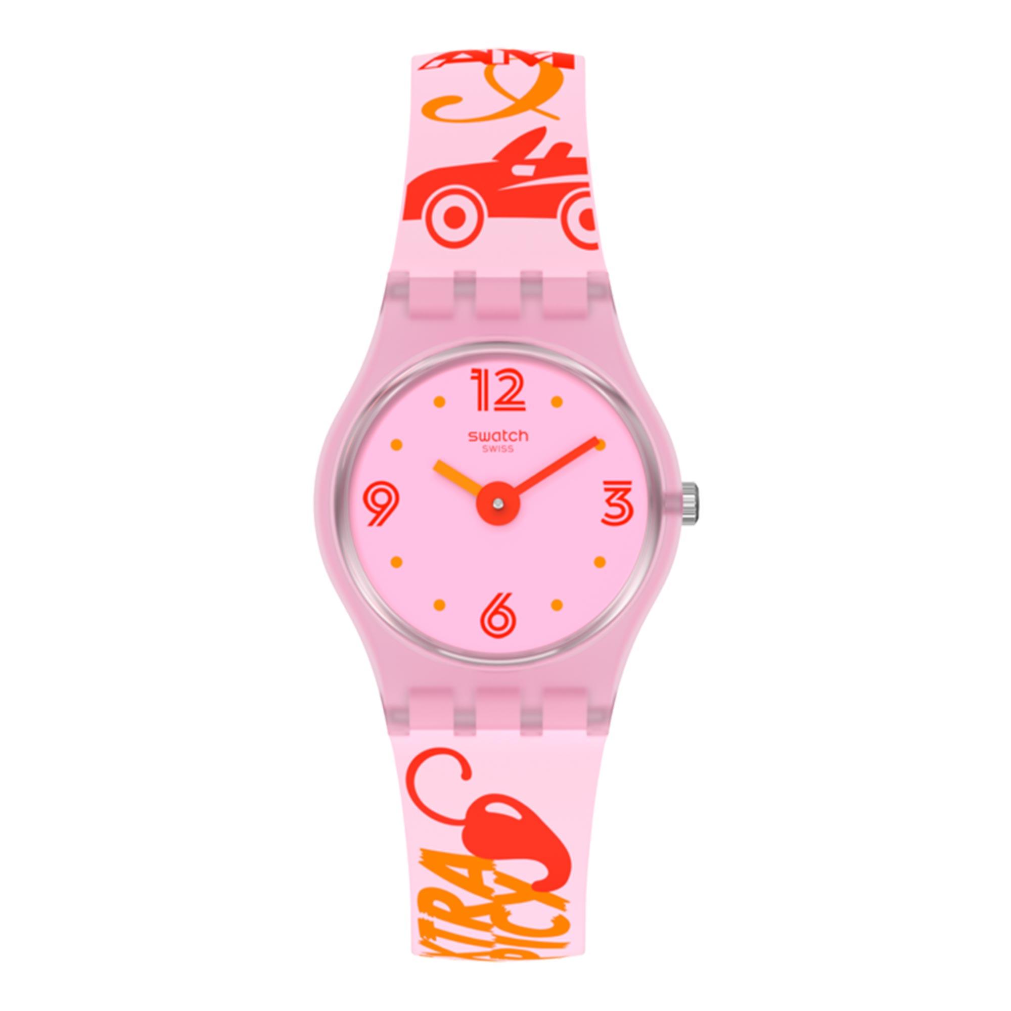Swatch Original Lady Quartz Pink Dial Silicone Strap Ladies Watch LP164