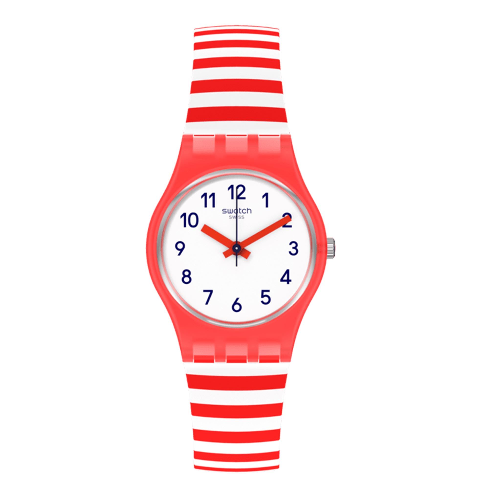 Swatch Original Lady Quartz White Dial Red Silicone Strap Watch LR135