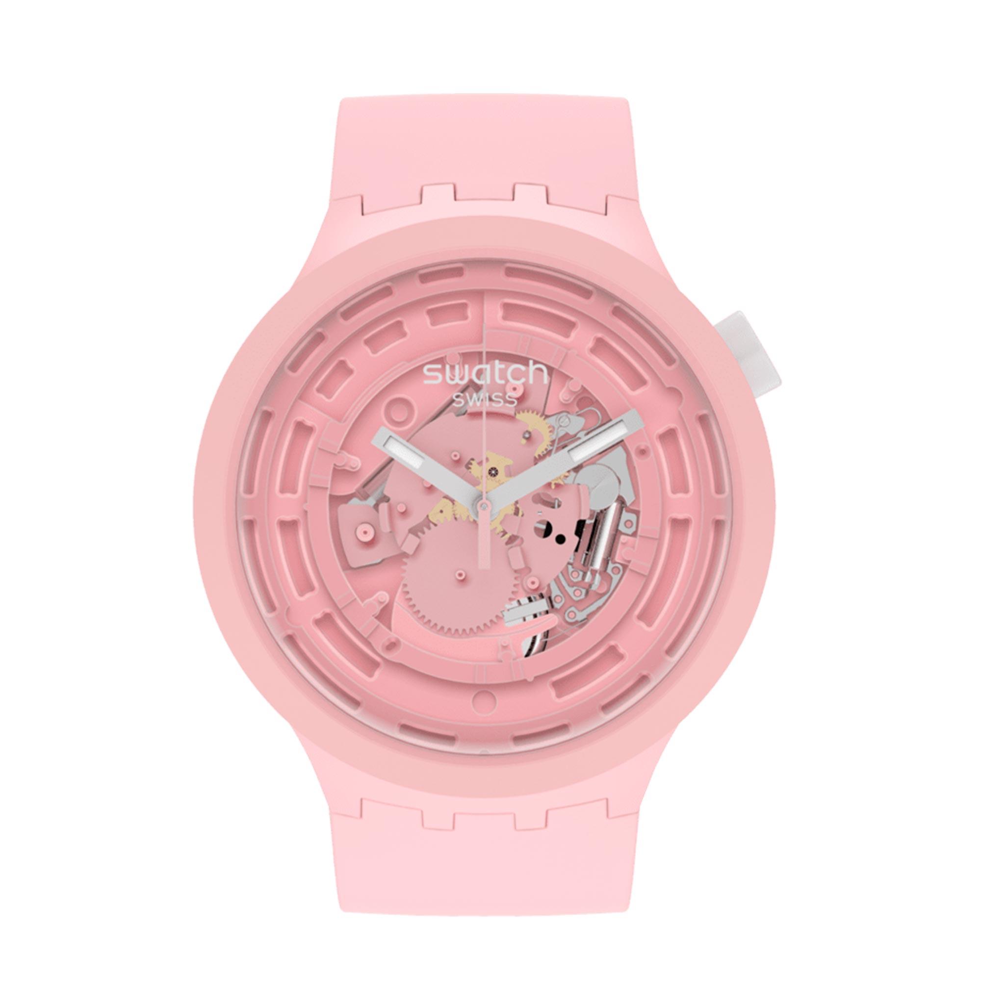 Swatch Big Bold Next Quartz Pink Dial Pink Silicone Strap SB03P100