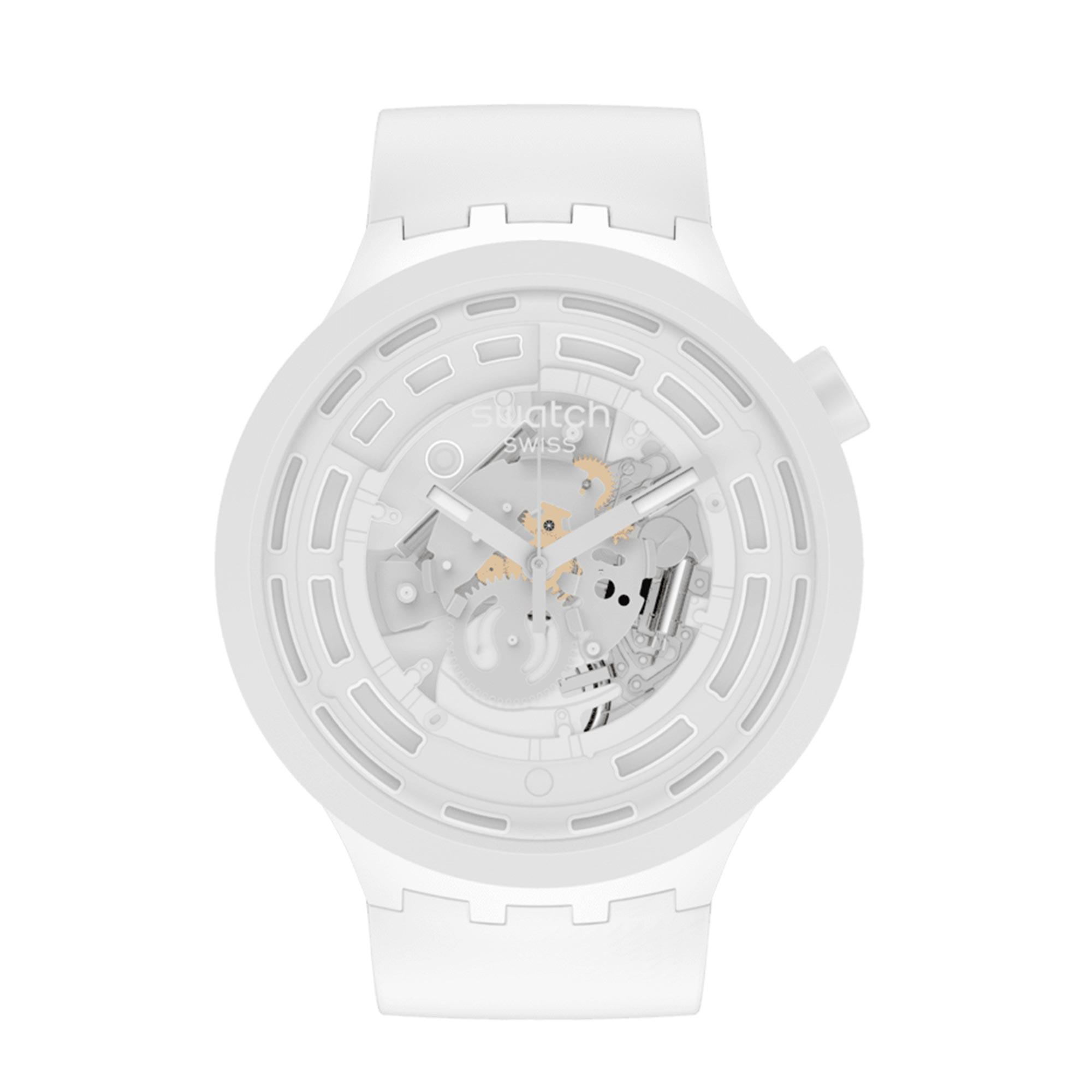Swatch Big Bold Next Quartz White Dial White Bio-sourced Strap Watch SB03W100