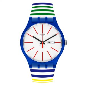 Swatch New Gent Quartz White Dial Blue Strap Watch SUON715