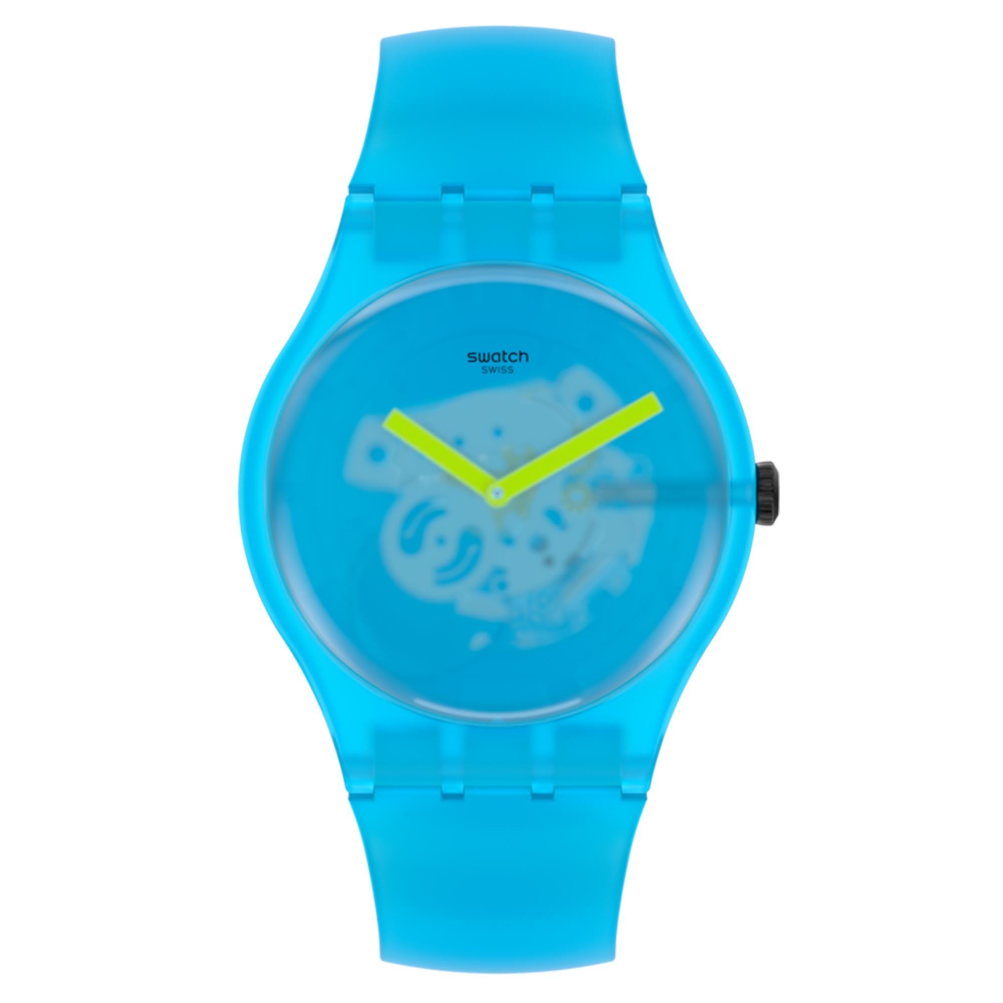 Swatch New Gent Quartz Transparent Dial Blue Silicone Strap Watch SUOS112