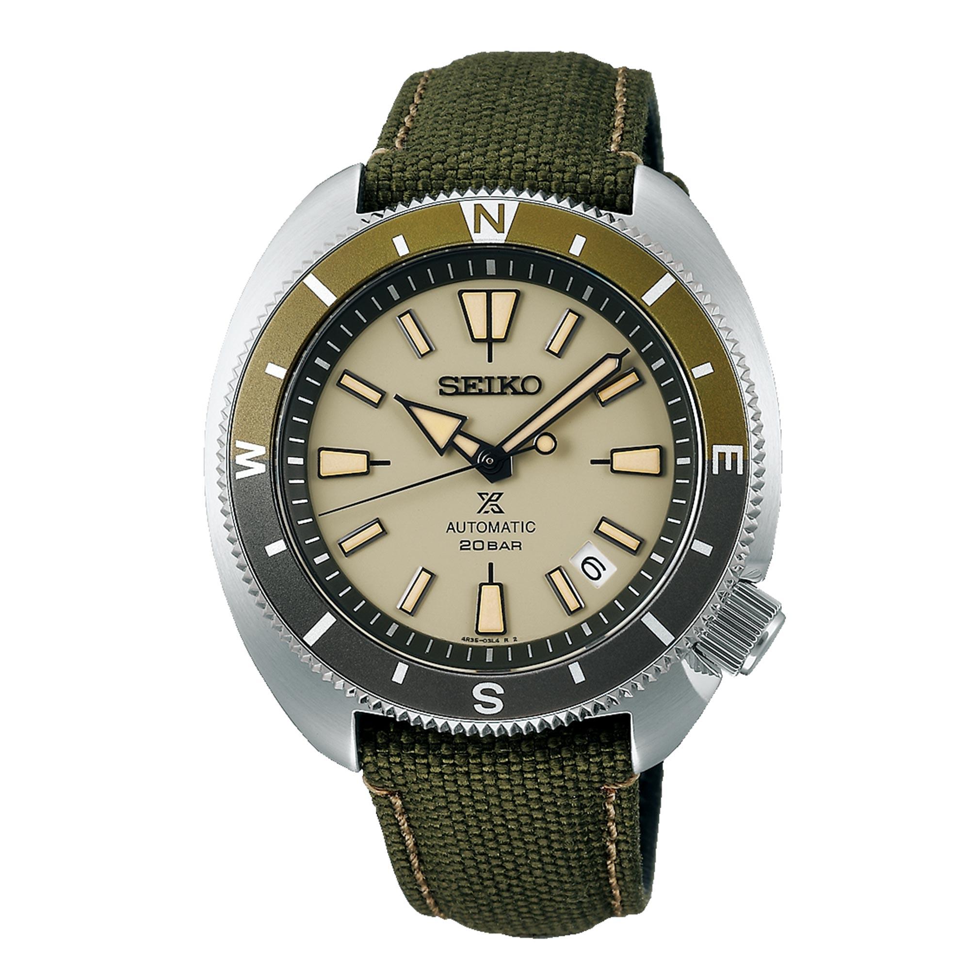 Seiko Prospex Tortoise Automatic Movement Tan Dial Polyester Bracelet Men's Watch SRPG13K1