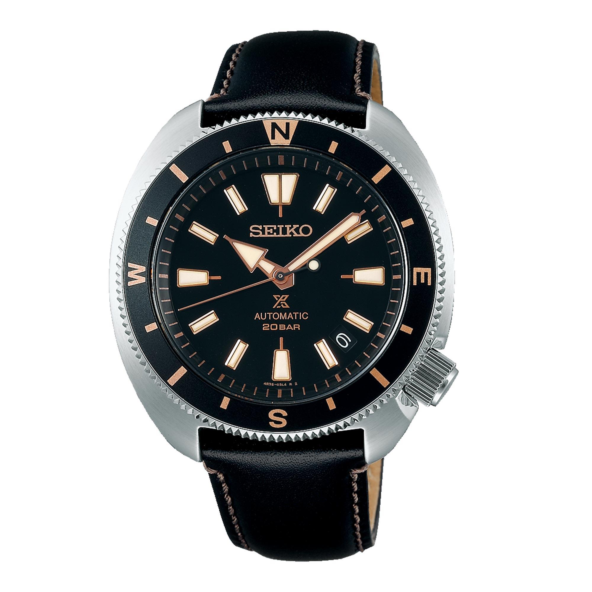 Seiko Prospex Tortoise Automatic Movement Black Dial Leather Bracelet Men's Watch SRPG17K1
