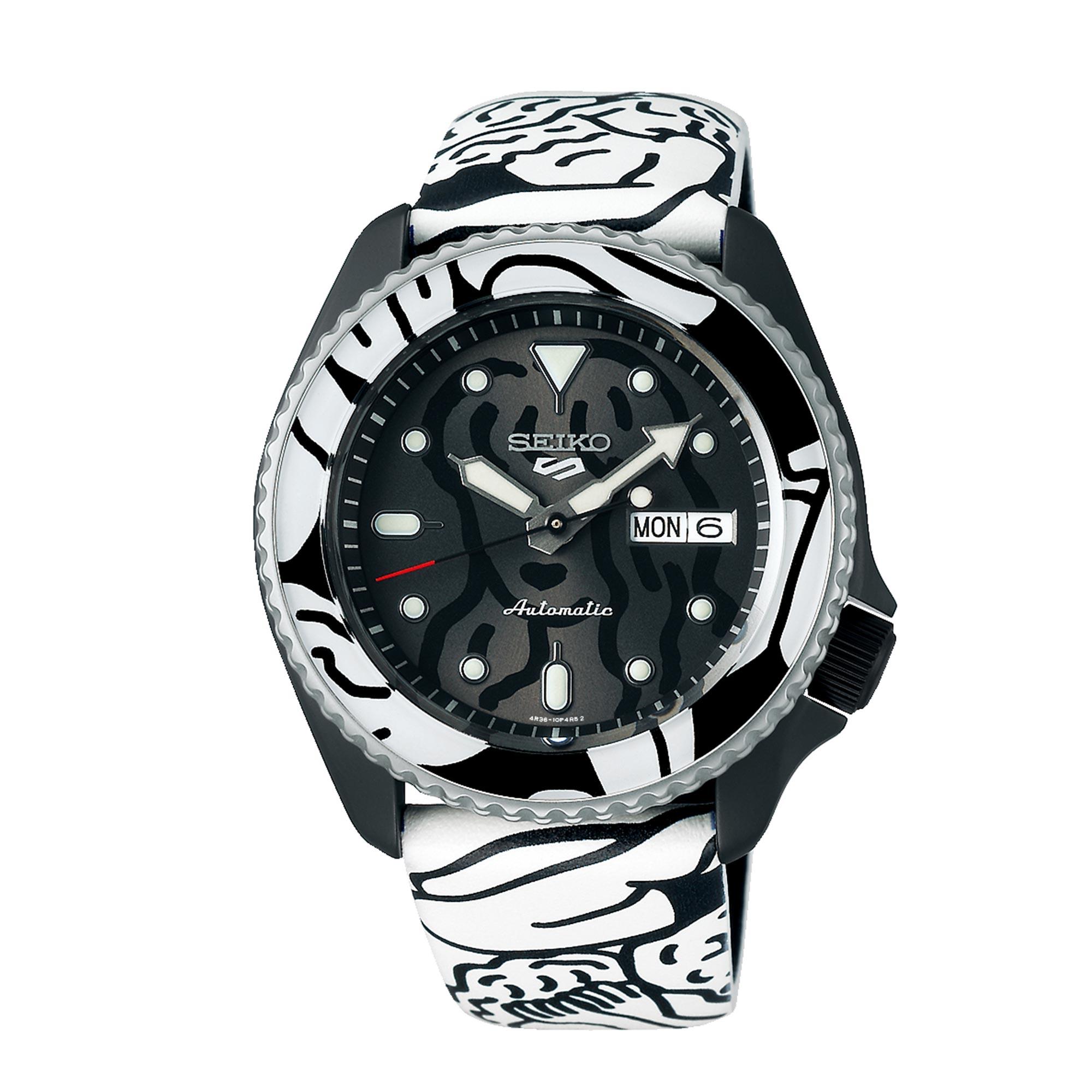 Seiko 5 Sports Automatic Movement Black Dial Leather Bracelet Men's Watch SRPG43K1