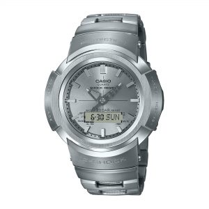 Casio G-Shock Quartz Silver Dial Silver Stainless Steel Strap Mans - Full Metal Analog AWM-500D-1A8ER