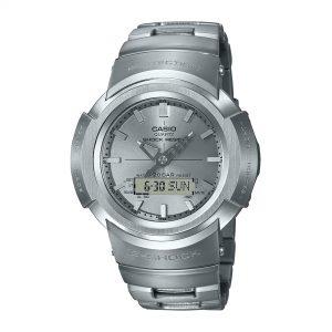 Casio G-Shock Quartz Silver Dial Silver Stainless Steel Strap Mans - Full Metal Analog AWM-500D-1A8ER