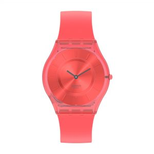 Swatch Skin Sweet Coral Quartz Movement Red Dial Silicone Strap Watch SS08R100