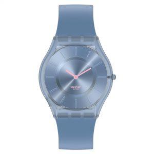 Swatch Skin Denim Blue Quartz Movement Blue Dial Silicone Strap Watch SS08N100