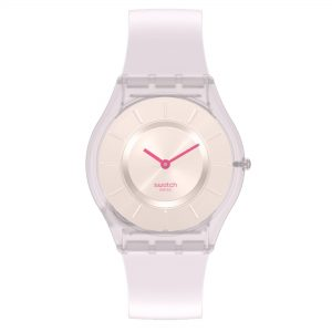 Swatch Skin Creamy Quartz Movement Beige Dial Silicone Strap Watch SS08V101