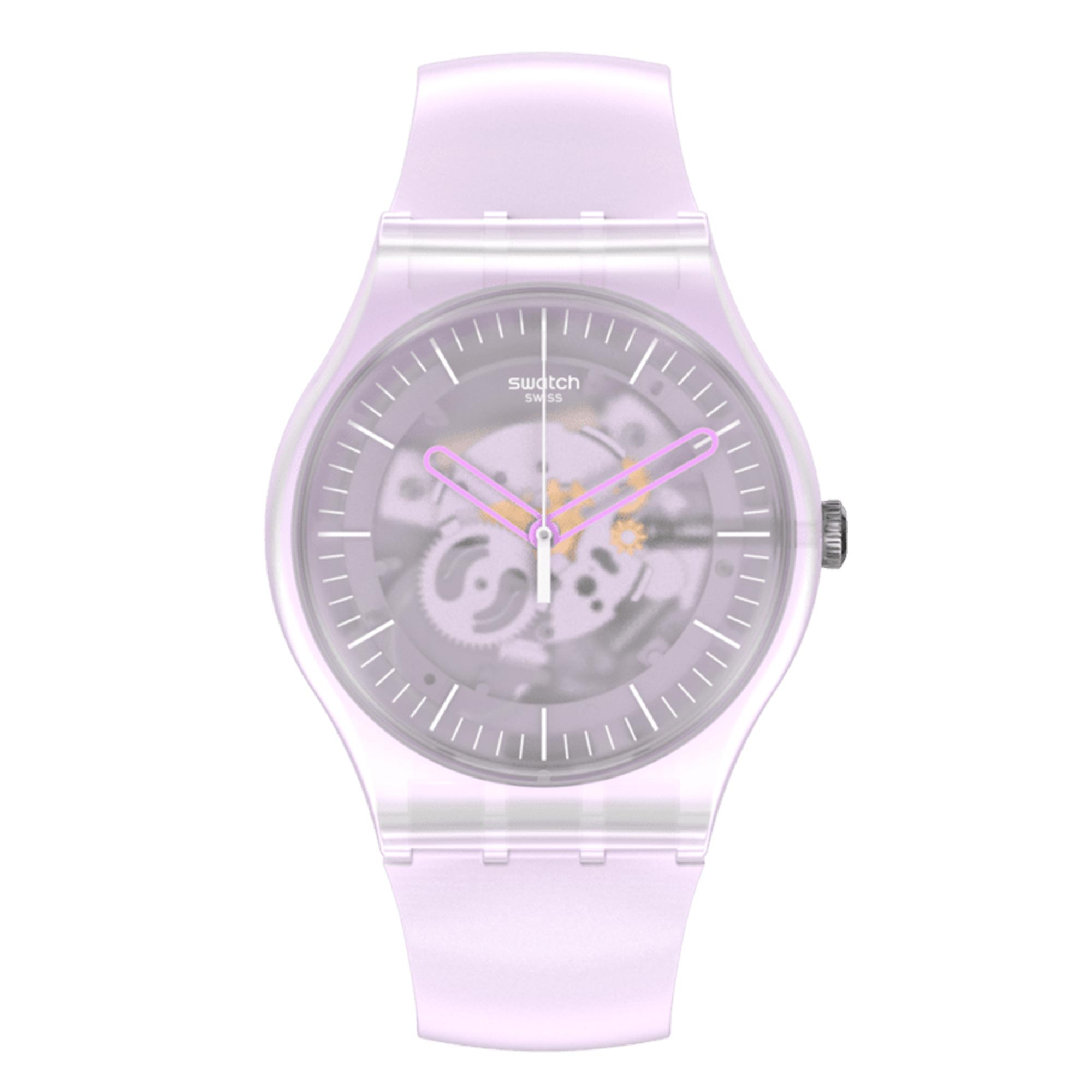 Swatch Pink Mist Quartz Movement Pink Dial Silicone Strap Watch SUOK155