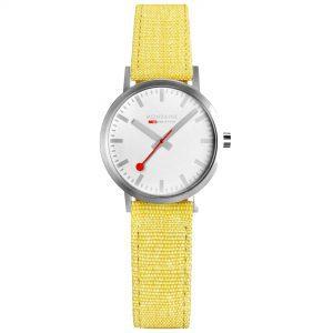 Classic 30mm Mondaine Classic Quartz Movement White Dial Textile Bracelet Womens Watch A658.30323.17SBE