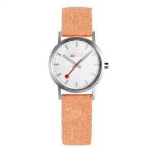 Mondaine Classic Quartz Movement White Dial Textile Bracelet Womens Watch A658.30323.17SBF