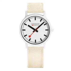 Mondaine Essence Quartz e Dial White Strap Ladies Watch MS1.41111.LT
