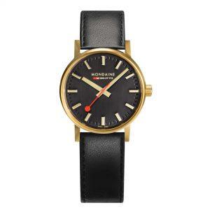 Mondaine Evo Quartz Black Dial Leather Strap Ladies Watch MSE.30120.LB