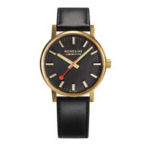 Mondaine Evo Quartz Black Dial Leather Strap Watch MSE.40122.LB