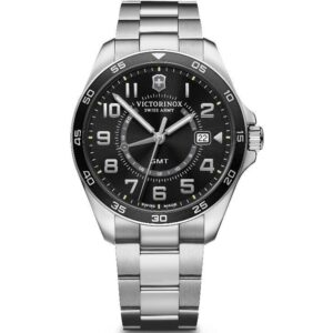 Victorinox Swiss Army Watch Fieldforce GMT Quartz Movement Black Dial Stainless Steel Bracelet Watch 241930
