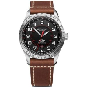 Victorinox Swiss Army Watch Airboss Mechanical Automatic Movement Black Dial Leather Bracelet Watch 241937