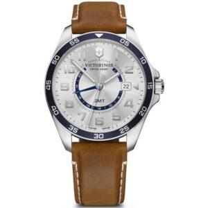 Victorinox Swiss Army Watch Fieldforce GMT Quartz Movement Silver Dial Leather Bracelet Watch 241931