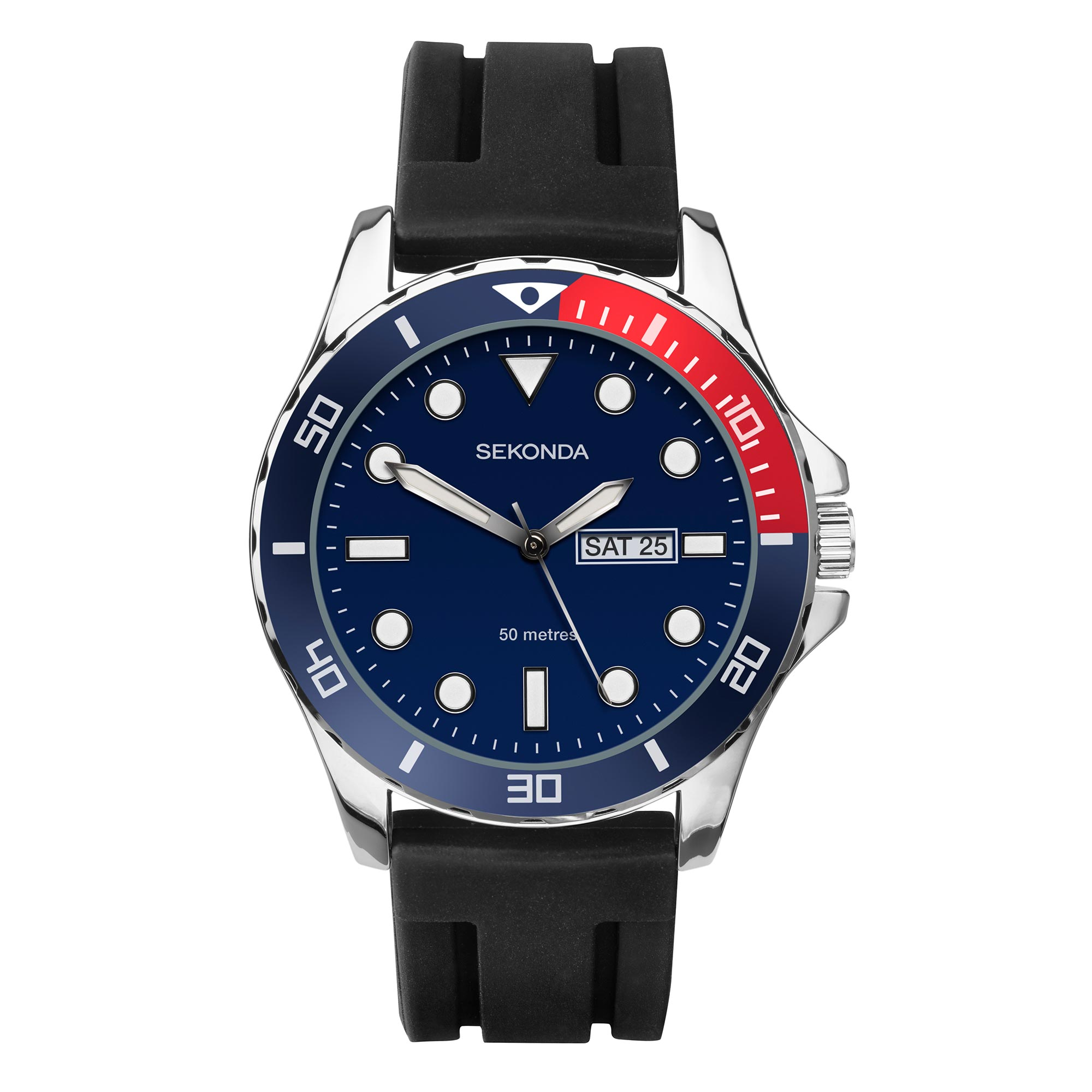 Sekonda gents watch. Silver colour case with blue and red bezel. Blue dial with batons. Day/date. Black rubber strap. Water resistant to 50 metres. 2 year guarantee.