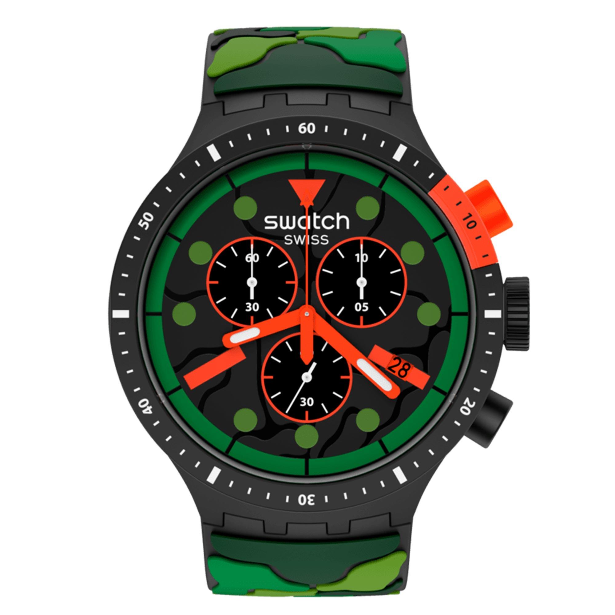 Swatch Escape Jungle Black Dial Jungle Pattern Silicone Strap Men's Watch SB02B409