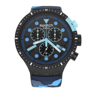 Swatch Escape Ocean Blue Dial Blue Silicone Strap Men's Watch SB02B408