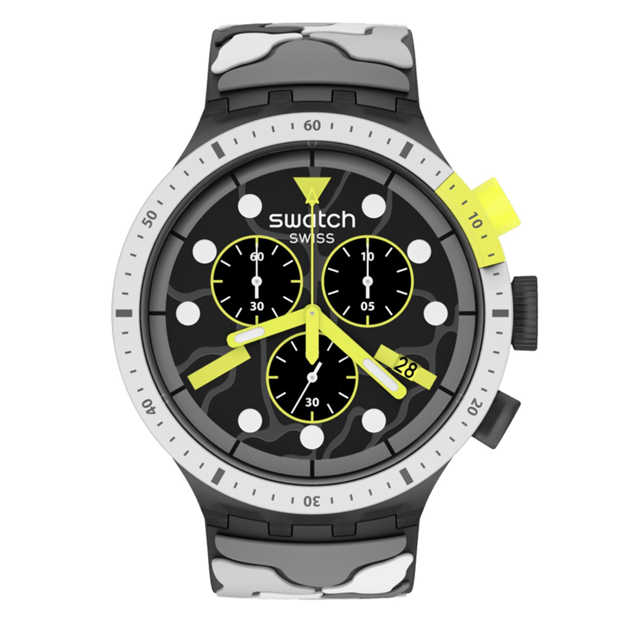 Swatch Escape Arctic Black Dial Arctic Pattern Silicone Strap Men's Watch SB02M400