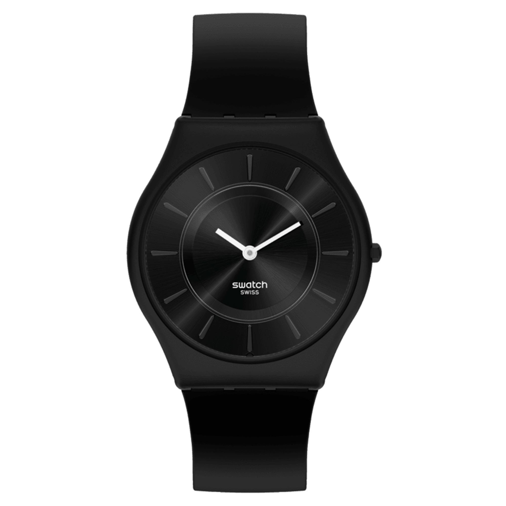 Swatch Liquirizia Black Quartz Movement Black Dial Silicone Strap Watch SS08B100