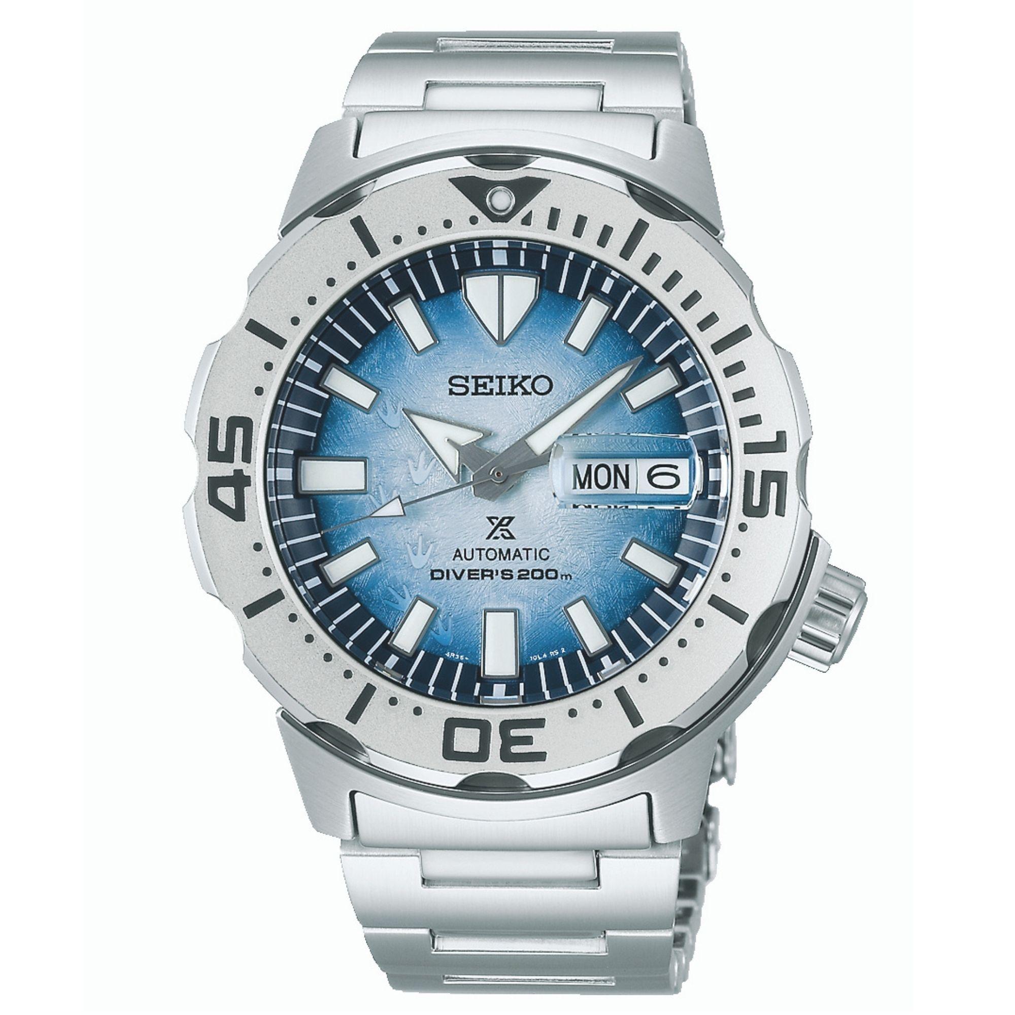 "Seiko Prospex Antarctica Monster ""Save the Ocean"" Automatic Movement Blue Dial Stainless Steel Bracelet SRPG57K1"