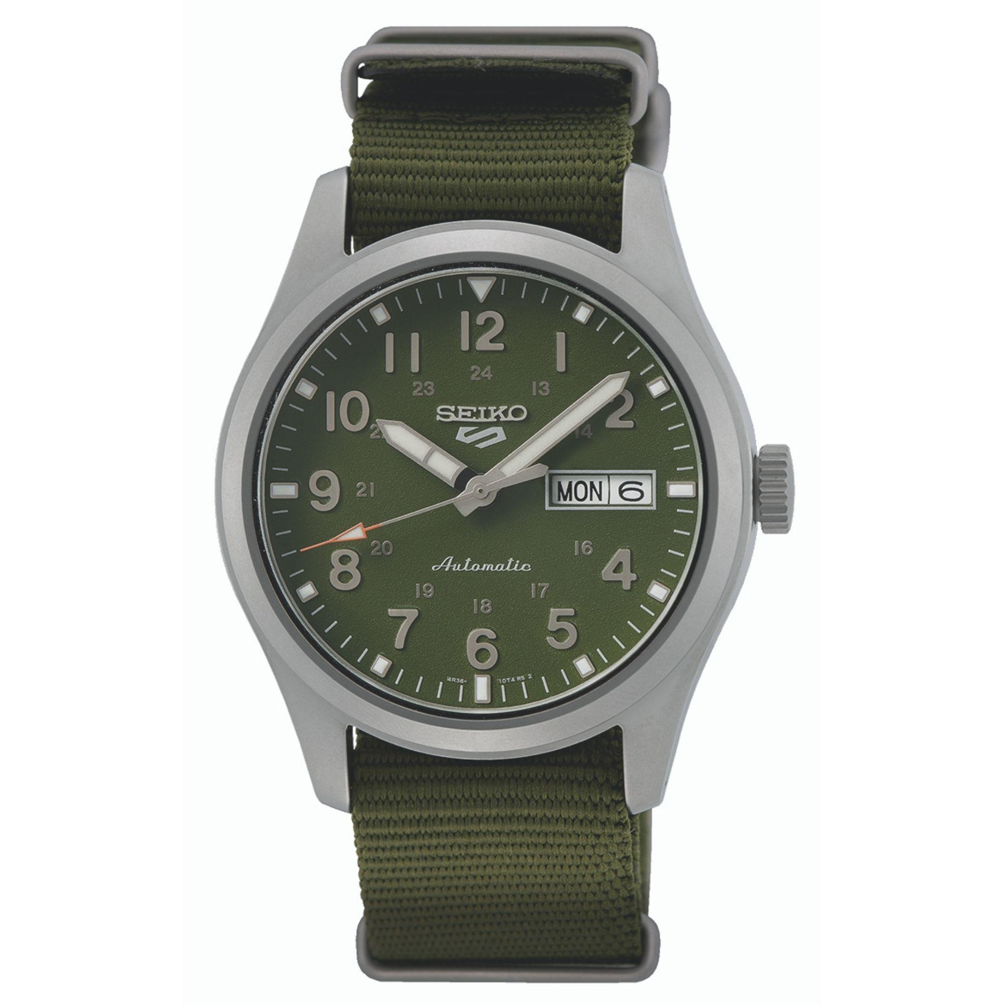 Seiko 5 Sports Automatic Movement Green Dial Nylon Bracelet Men's Watch SRPG33K1