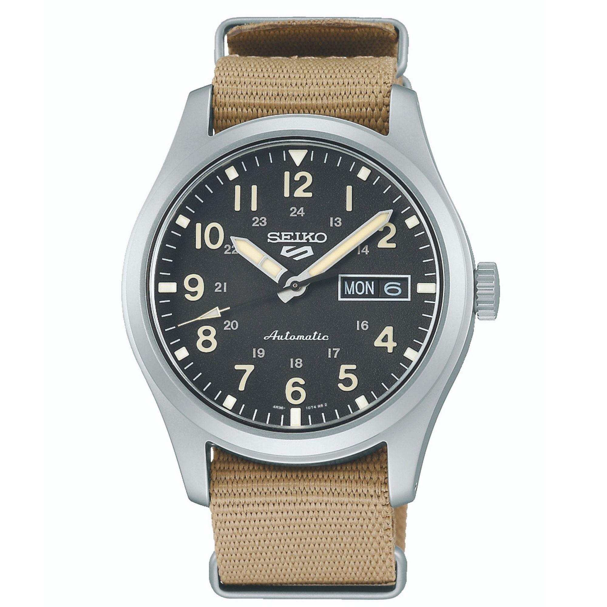 Seiko 5 Sports Automatic Movement Black Dial Nylon Bracelet Men's Watch SRPG35K1