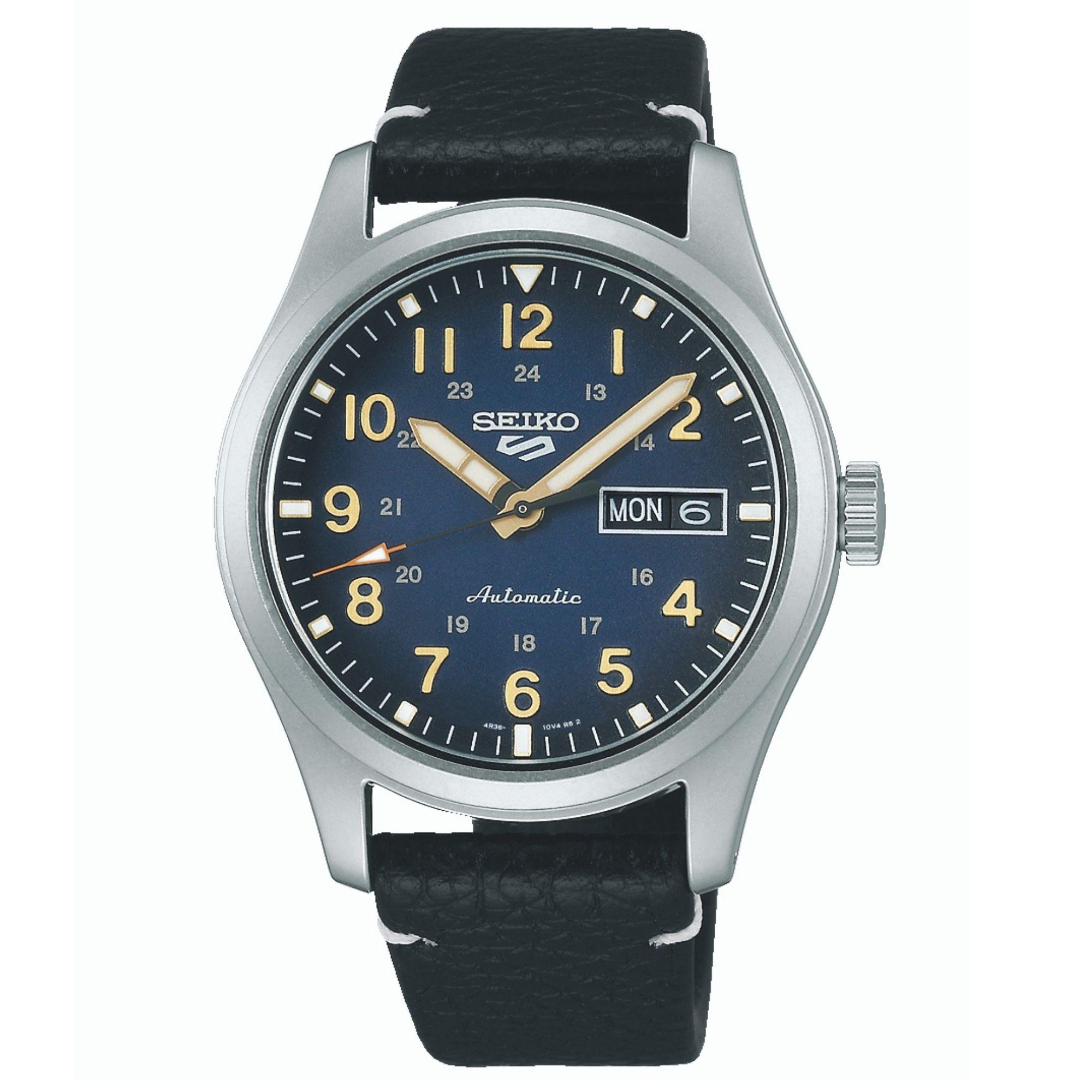 Seiko 5 Sports Automatic Movement Blue Dial Leather Bracelet Men's Watch SRPG39K1