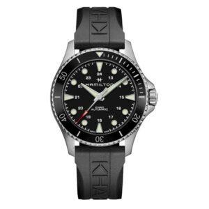Hamilton Khaki Navy Scuba Automatic Black Dial Rubber Bracelet Men's Watch H82515330
