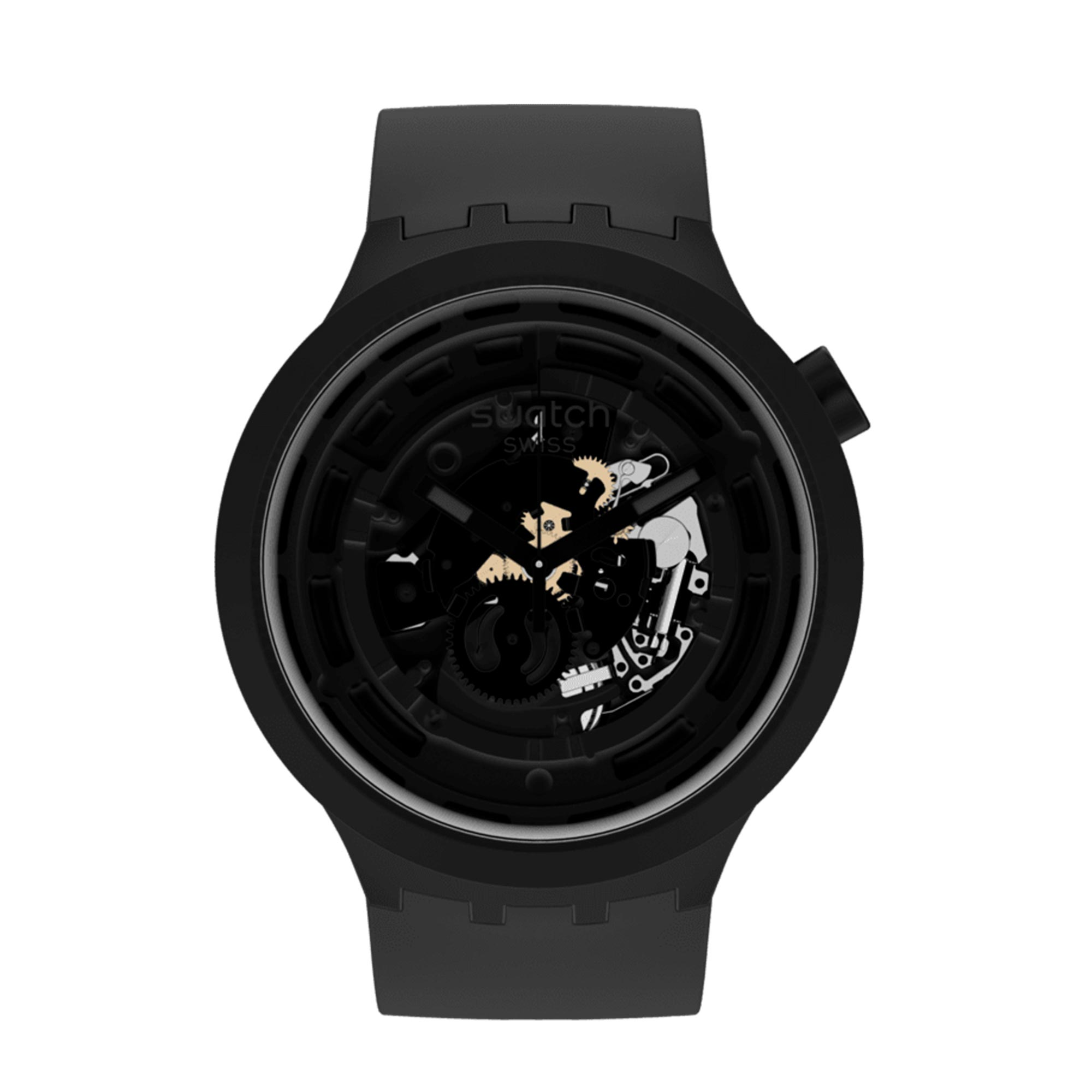 Swatch Big Bold Next Quartz Black BioCeramic Silicone Watch SB03B100