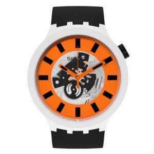 Swatch Orack Quartz Movement Orange Dial Silicone Strap Watch SB03M104