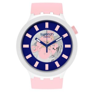 Swatch Diversipink Quartz Movement Blue Dial Silicone Strap Watch SB03M105